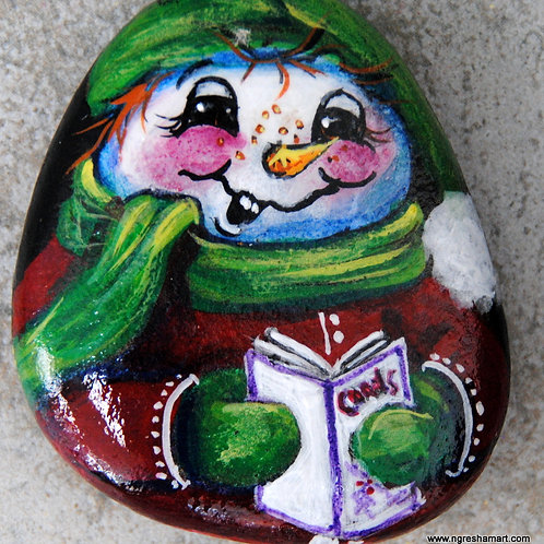 hand painted rock, snowman