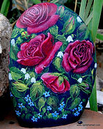 handpainted rocks,roses,yard art,decor
