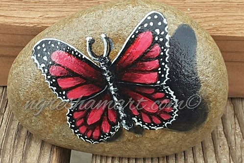 red butterfly handpainted rock,painted stones butterflies,insects