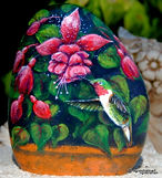 handpainted rocks,hummingbird,fuschias,original art,floral paintings,unique gifts for mom