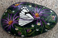 handpainted rocks,butterflies,white butt