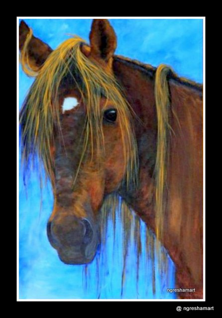 pet portraits- horse/ acrylic on canvas, animals, pet portrait