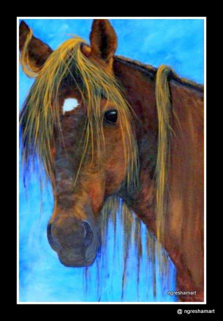 pet portraits- horse/ acrylic on canvas, animals, pet portrait