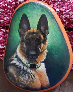 dog portraits painted on river rock