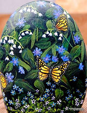 original paintings for sale,handpainted rocks,floral paintings,yellow butterflies,forget me nots,batchelor buttons,lily of the valley,yard art