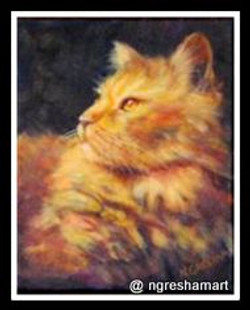 yellow cat portrait acrylic on canvas, animals, paintings, pets