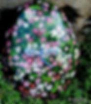 yard art,beautiful floral paintings,original floral paintings on rock,dragonfly