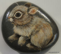 handpainted rocks, bunny, baby animals,art,baby bunny rock art