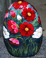 hand painted rocks,poppies,garden art,yard art,home decor