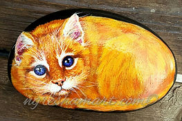 handpainted rocks pet portraits painted stone yellow tabby cat kitten hand painted rocks for sale