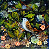 mixed media original art song bird