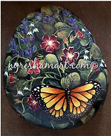 handpainted rocks,yellow monarch butterf