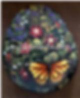 handpainted rocks,yellow monarch butterf