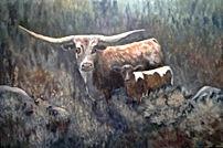 "Call Me Mama aka Marie's Cow by Debbie Barnett 24"" x 36"" $750 plus shipping. Longhorns"