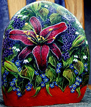 original painting,burgundy oriental lily painted on rock,yard art,home decor