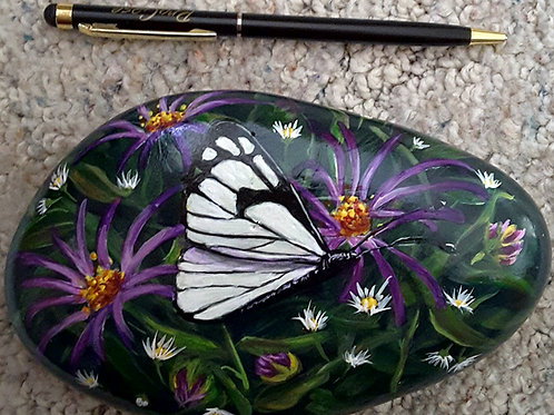 Hand painted rocks, white butterfly and flowers