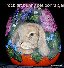 rock art,lop ear bunny painting on rock,pet portraits,bunny paintings
