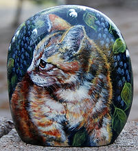 painted rocks,cats,pet portraits on rock
