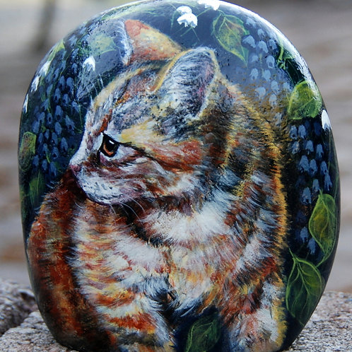 hand painted rock- cat and butterfly with flowers