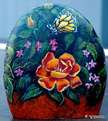handpainted rocks,wild rose and butterfly,garden decor