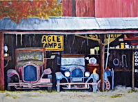 """Grandpa's Shed by Debbie Barnett, acrylic on wood substrate gallery wrap,unframed,16""""x20"""",$375 plus shipping, ranch/farm art original paintings for sale"""