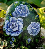 hand painted rocks,blue roses painted on stone,original floral painting,yard art