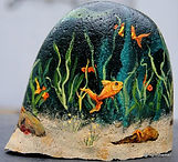 handpainted rocks,underwater scenes,fish tank paintings of goldfish,handpainted rocks
