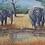 Thumbnail: African Elephants at the water hole,original wildlife art,African wildlife art