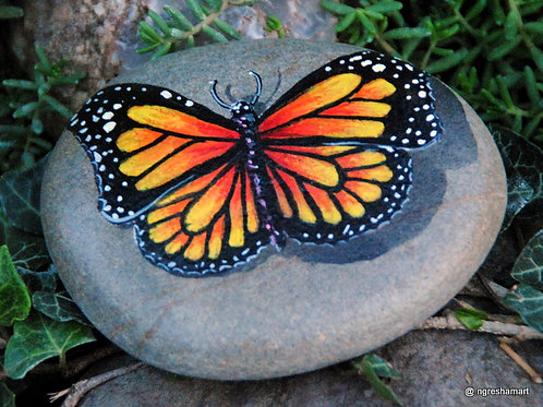 handpainted rock,butterfly,insects,collecible,art,home decor,ngreshamart