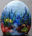 handpained rocks,fish tank rocks,aquarium scenes,saltwater fish paintings,original art,gifts