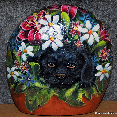 hand painted rock,black puppy,butterfly,floral,art