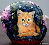 orange tabby cat painted on rock,pet portraits on rock
