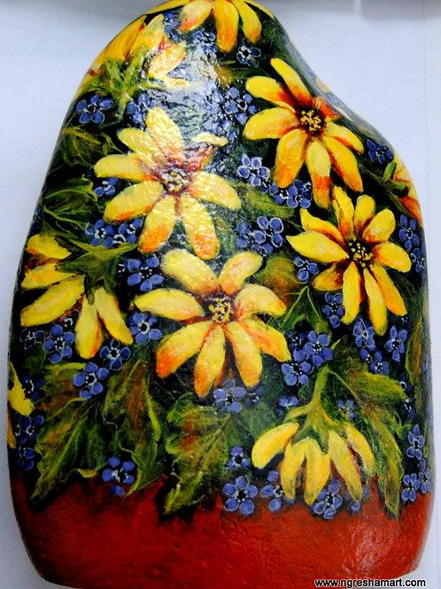 handpainted rocks,flowers, daisies,forget me nots