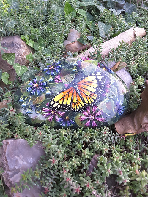 yellow butterfly handpainted rock,painted stones butterflies,insects