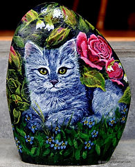 handpainted rocks,cats,kittens,roses,animal paintings,original art,pet portraits on rock,painted rocks by ngreshamart.com