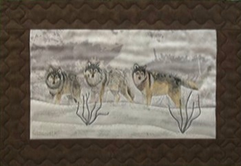 wolves placemats fiber art by Cathy Little