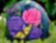 handpainted rocks,roses,butterflies,pink roses,purple roses,yellow butterfly,original paintings on rock