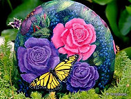 handpainted rocks,roses,butterflies,pink roses,purple roses,yellow butterfly,original paintings on rock