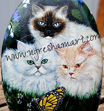 hand painted rocks,cats,siamese cats,persian cats