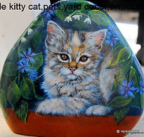 pet portraits painted on stone,calico kitten,painted rocks,cats