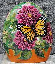hand painted rocks,butterfly,dahlias,patio decor