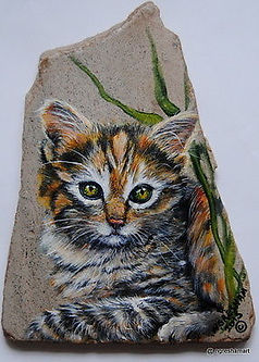 custom pet portraits,handpainted rocks,calico kitten paintings