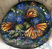 handpainted rocks,butterflies,monach butterflies,yellow butterflies,hand painted rocks,rock art