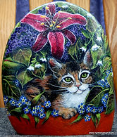hand painted rock,lilies,calico kitten,rock art,painted pet rock,painted stones,painted rocks