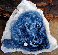 handpainted rock,pets,dogs,poodles,labradoodle painted on rock