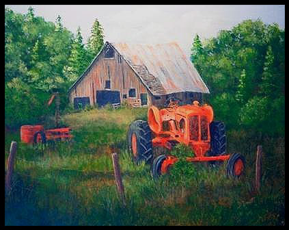 tractor-Out Behind The Barn by Debbie Ba