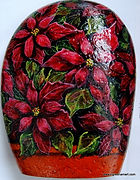 handpainted rocks,Christmas decor,poinsettias painted on rock,perfect gift,home decor,holiday decor