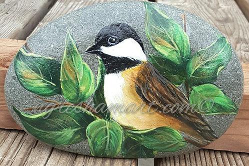 chickadee painted stone,handpainted rocks birds