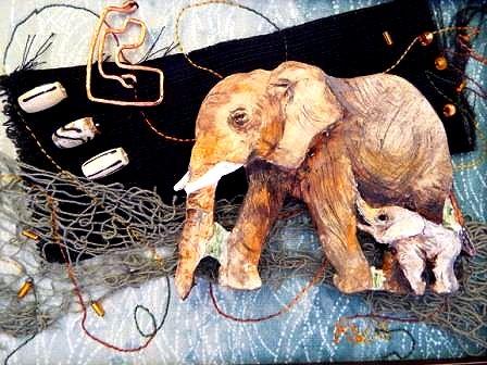 elephants mixed media by Kathryn Van Ack