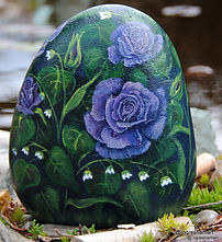 original rose paintings,handpainted rocks,blue roses,yard art,perfect mothers day gift